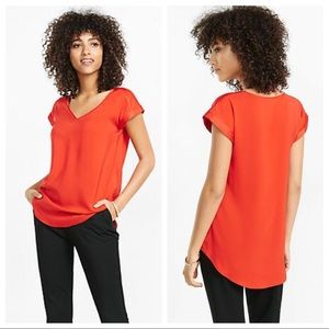 Red Express Silky V-Neck Rolled Sleeve Blouse